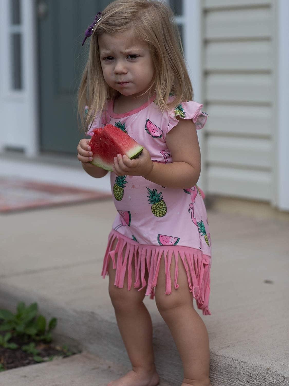 So Sydney Toddler /& Girls Bohemian Fringe Accent Tank Top Boho Cotton Dress