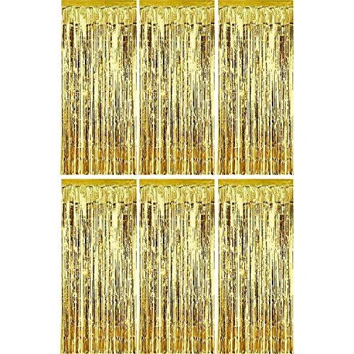 Sumind 6 Pack Foil Curtains Backdrop Fringe Tinsel Metallic Curtains Photo Backdrop for Wedding Birthday Party Stage Decor (Gold)]()