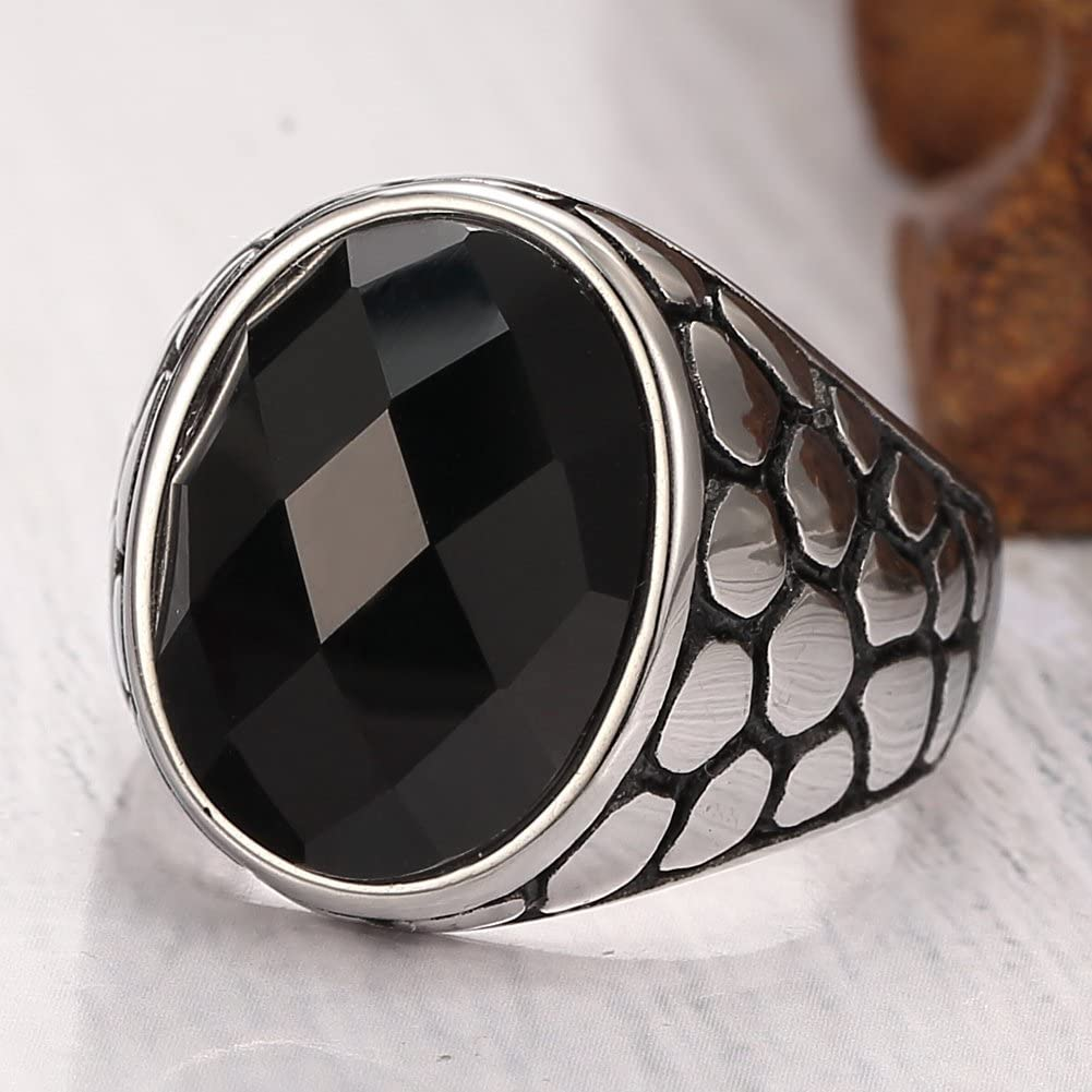 MOWEN Classic Stainless Steel Vintage Black Crystal Ring Band,Silver Black