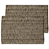 """Unique & Custom {13 x 19'' Inch} Set Pack of 2 Rectangle """"Non-Slip Grip Texture"""" Large Table Placemats Made of Washable Flexible 100% Cotton w/Dark Woven Rustic Country Modern Design [Brown Color]"""