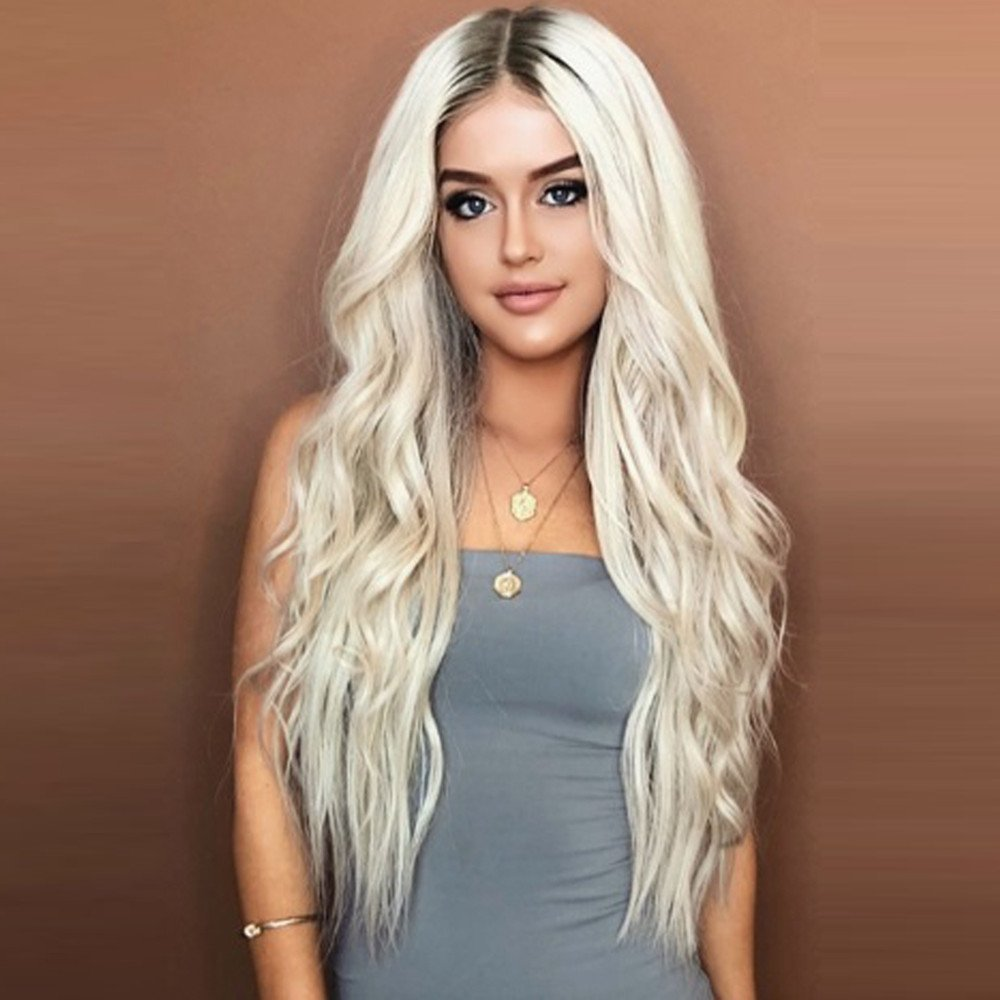 ZiQE 28 '' Parrucca sintetica a onde lunghe Ombre Radicata Capelli biondi misti per Cosplay Fashion Halloween Party Fancy Dress