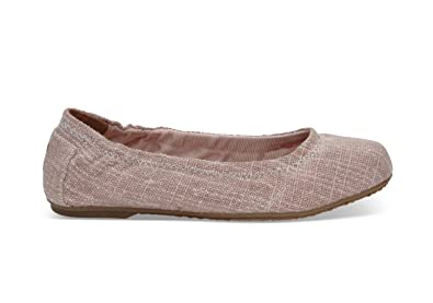 8ab19cb8a TOMS Youth Ballet Flats Pink Metallic Burlap 10010185 Youth Size 12.5