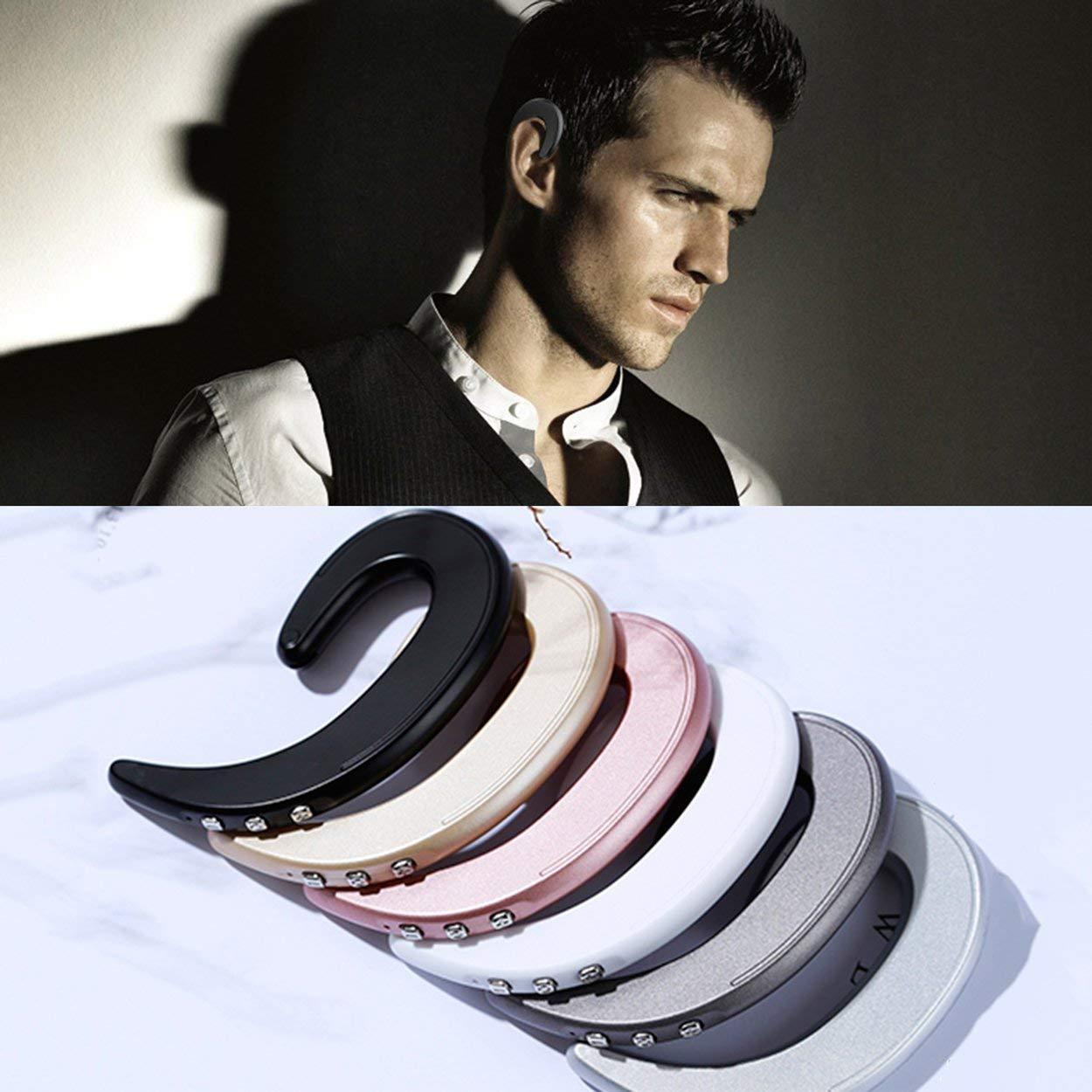 Lorenlli Auriculares inalámbricos Bluetooth Auriculares estéreo de conducción ósea con micrófono Auriculares con Gancho para la Oreja Auriculares Deportivos livianos