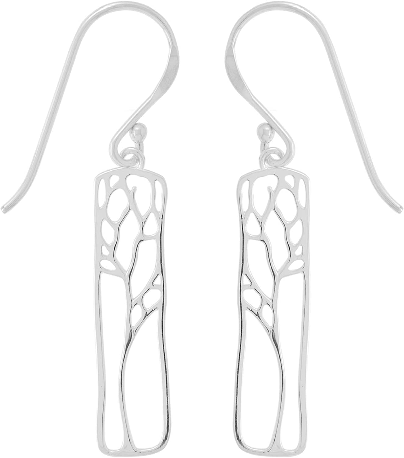 Boma Jewelry Sterling Silver Rectangle Tree Silhouette Dangle Earrings