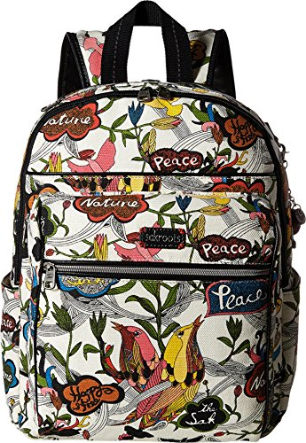 Sakroots Women's Artist Circle Cargo Backpack White Peace Print