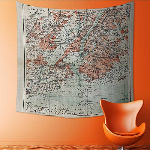 Nalahomeqq NYC Decor Collection New York Old Map From The End of 19th Century Antiques History Historical Symbol Microfiber Fabric drawing room Custom tapestry Extra Coral Green Bei 40 W (19th Century Tapestry)