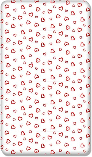 BABY FITTED JUNIOR BED SHEET  100/% COTTON MATTRESS 160x70cm White Hearts on Red