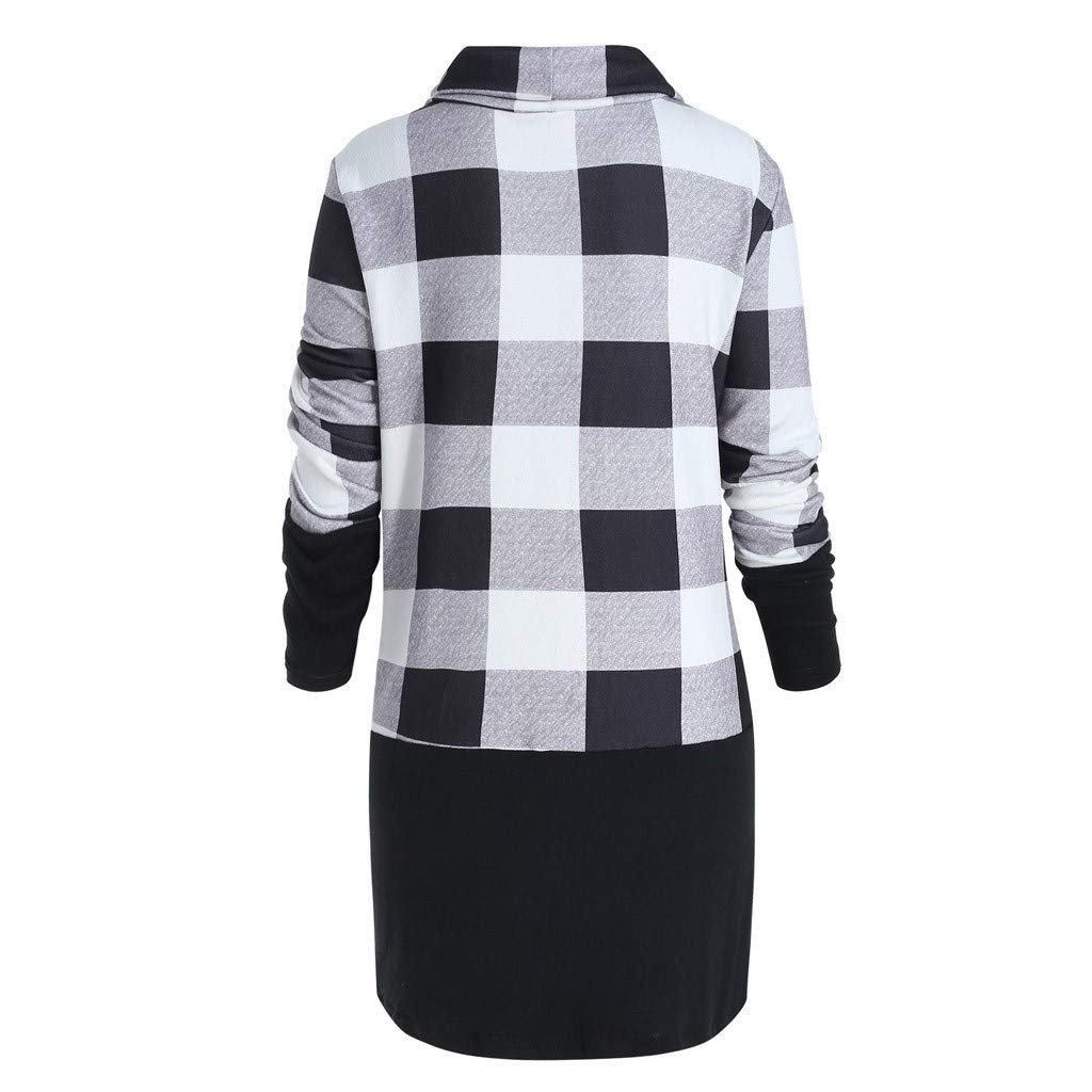 COOKI Womens Cowl Neck Plaid Drawstring Hoodie Sweatshirt Tunic Dress Pullover Shirts Tops Jumper Mini Dress Blouses