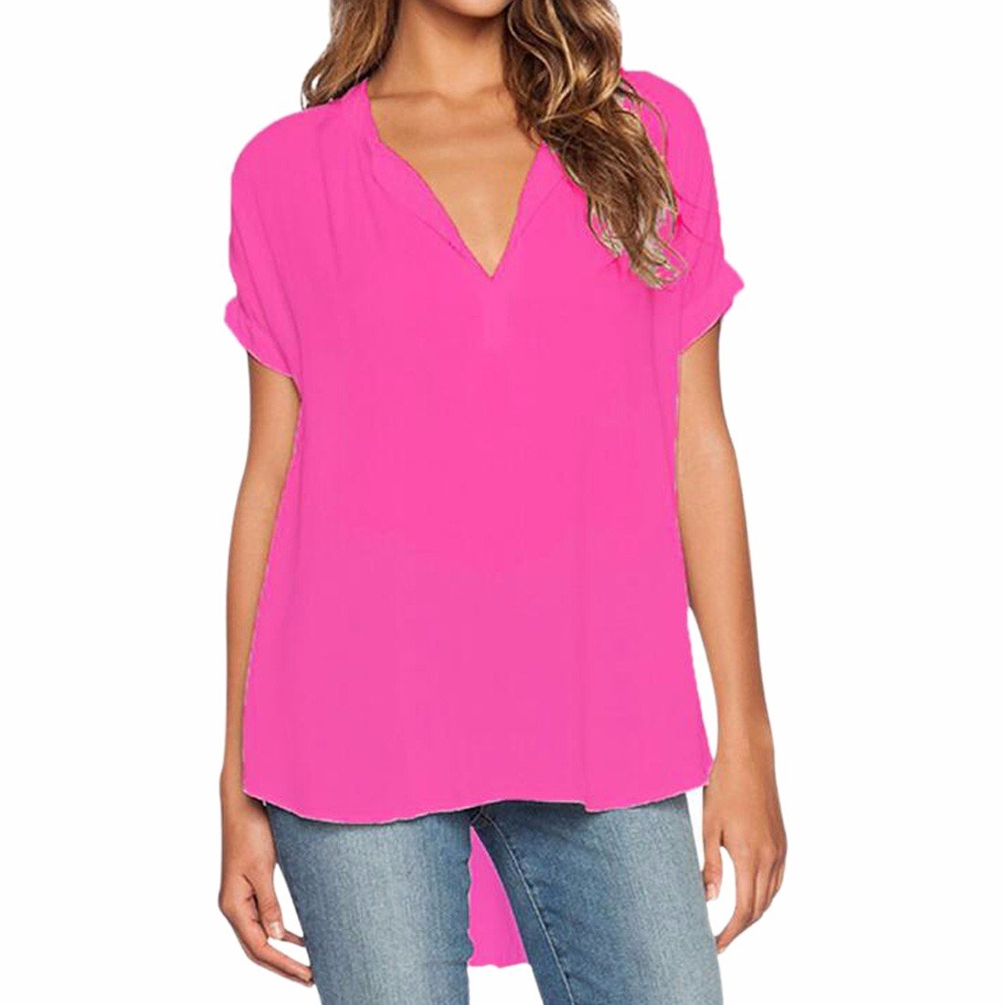 Women Solid Loose Chiffon Shirt Short Sleeves Blouse V Neck Tops Shirt Plus Size 1172S0907