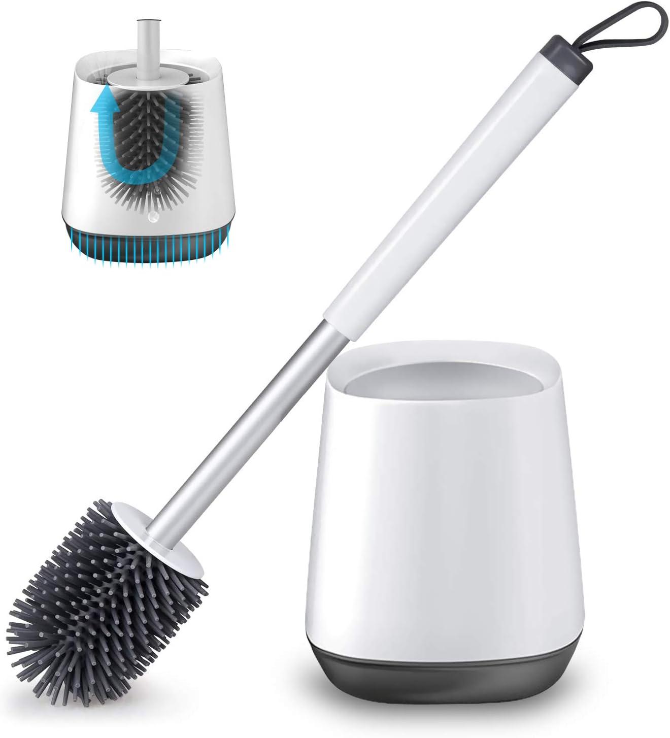 IADZ Toilet Brush,Stainless Steel Toilet Brush Set Colorful Toilet Bowl Brush with Holder Toilet Cleaning Brush