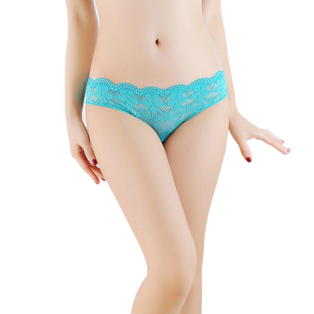 Women Hollow Briefs Lace Panties Thongs Lingerie Underwear (Free, Blue)