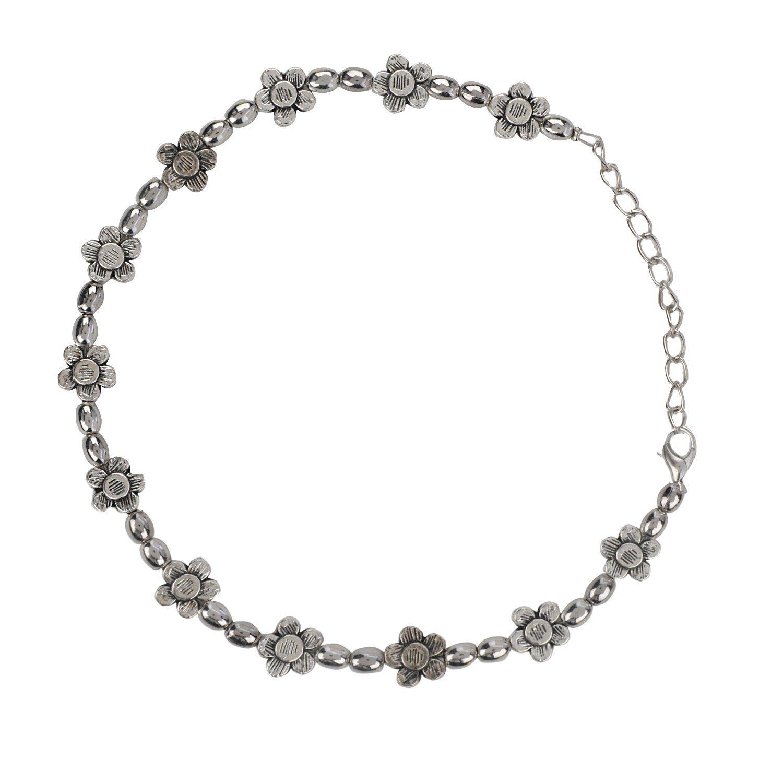 Efulgenz Antique Vintage Style Foral Pattern Silver Tone Adjustable Clasp Charm Bracelet for Girls and Women
