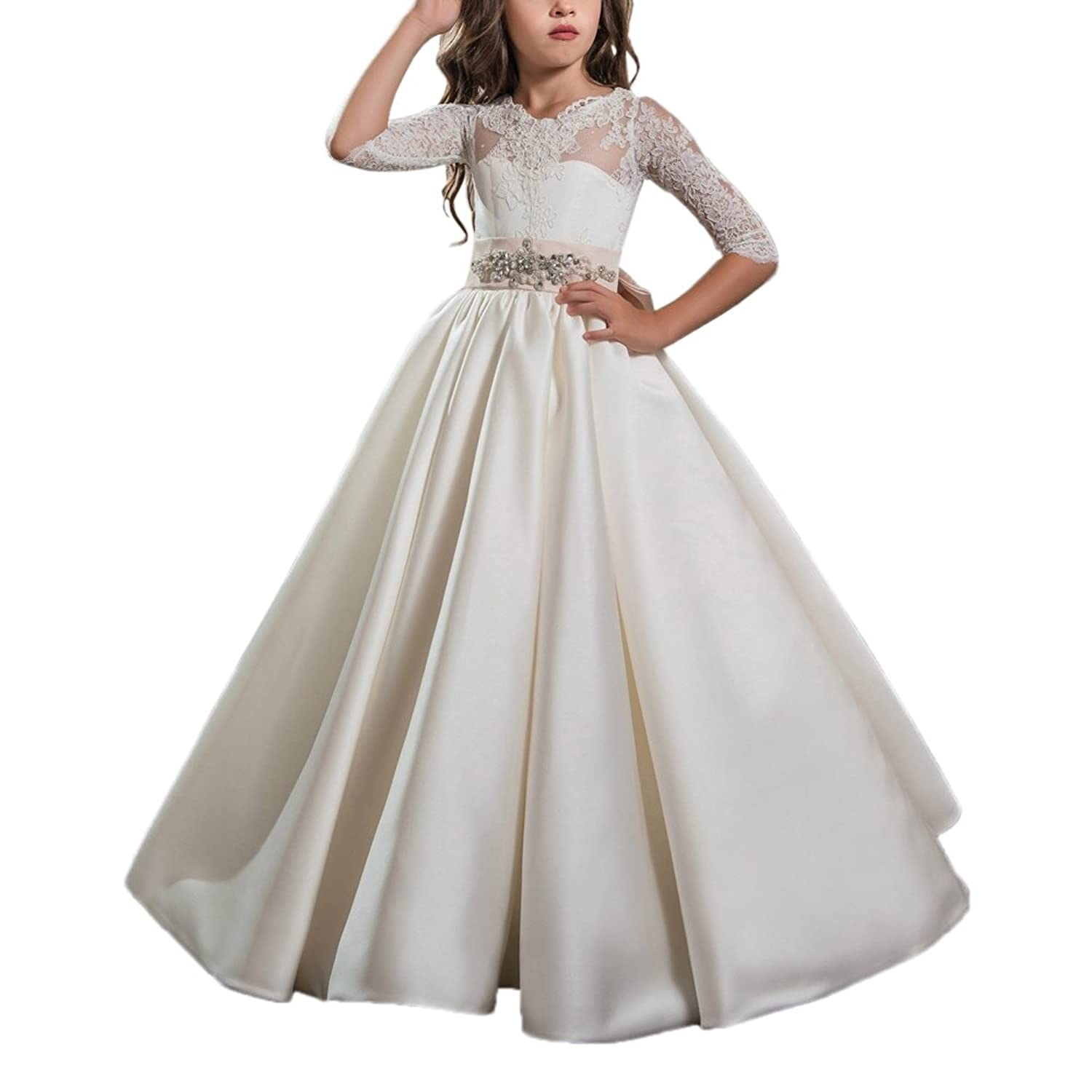 bfd12f358f00 AbaoSisters Elegant Flower Girl Dress for Wedding Kids Half Sleeves Lace  Pageant Ball Gowns