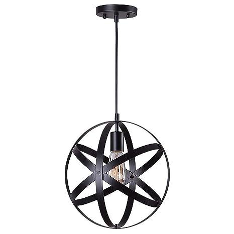 Luz colgante del techo industrial negro del metal del ...