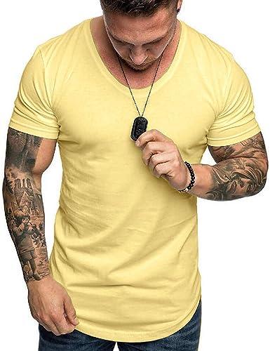 TUDUZ Camisetas Hombre Manga Corta Camisas de Color Liso Ropa Casual Ropa Deportiva: Amazon.es: Ropa y accesorios