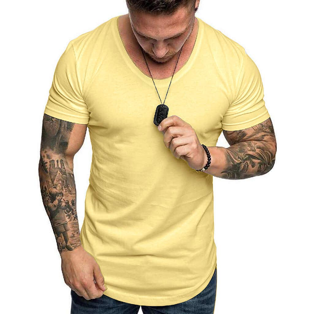 YOMXL Athletic Men's Performance Cotton Short Sleeve T-Shirt Classic Basic Solid Color Ultra Soft T-Shirt Yellow by YOMXL