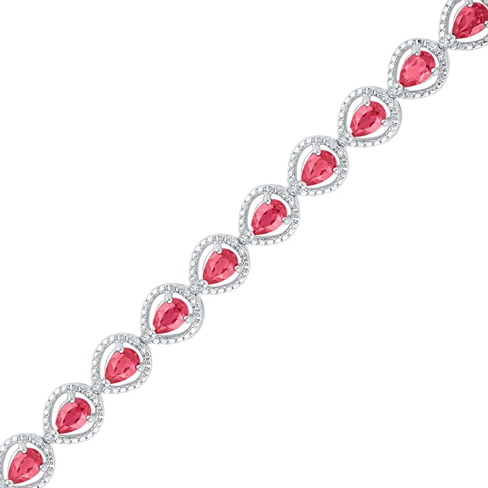 Sterling Silver Oval Lab-Created Ruby Tennis Fashion Bracelet 5-7/8 Ctw