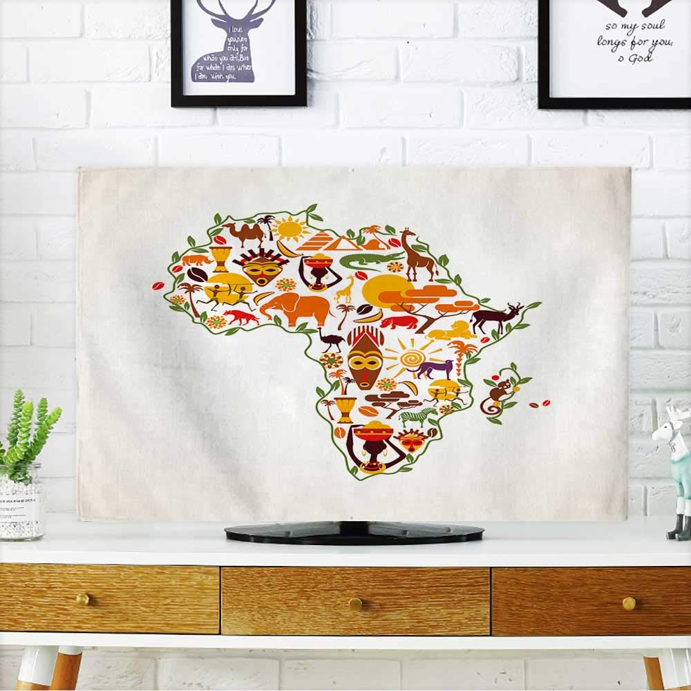 PRUNUS Cord Cover for Wall Mounted tv Africa Travel map,Decorative Symbol of Africa Continent with Ethnic Vector Icons Cover Mounted tv W19 x H30 INCH/TV 32''