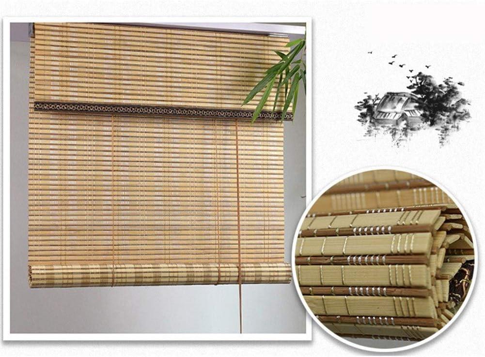 LJA Outdoor Sombrilla de bambú con riel y Accesorios, persiana Enrollable al Aire Libre for terraza Gazebo Pergola Patio Porche Carport (Size : W 90*H 340cm)