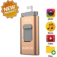 JIAHCN 128GB USB 3.0 Flash Drive with iPhone/PC/iPad/Android and More Devices (Gold)