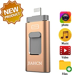 JIAHCN USB Flash Drive for iPhone iPad 128GB - Photo Stick - USB 3.0 Jump Drive,Memory Stick External Storage with iPhone/PC/iPad/Android and More Devices with USB Port (Gold)