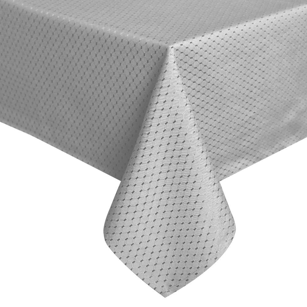 ColorBird Elegant Waffle Jacquard Tablecloth Waterproof Table Cover for Kitchen Dinning Tabletop Decor (Rectangle/Oblong, 52 x 70 Inch, Grey)
