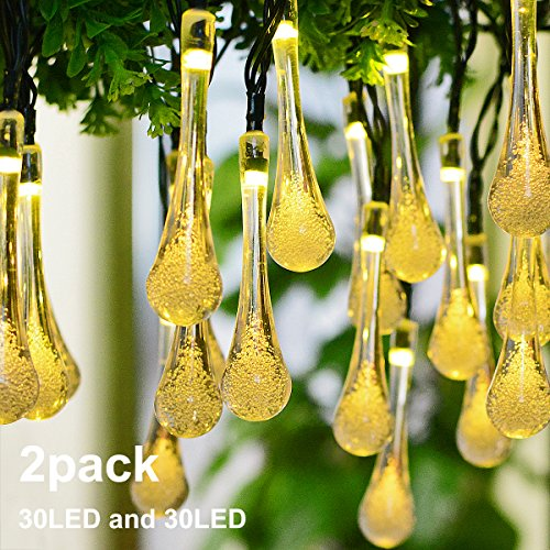 Lalapao Christmas lights 2 Pack 30 LED Solar String Lights Water Drop Xmas Fairy String Outdoor Decorations Waterproof Home Decor Light Perfect for Tree Indoor Patio Garden Party Wedding (Warm White) (Home Christmas Decorations)