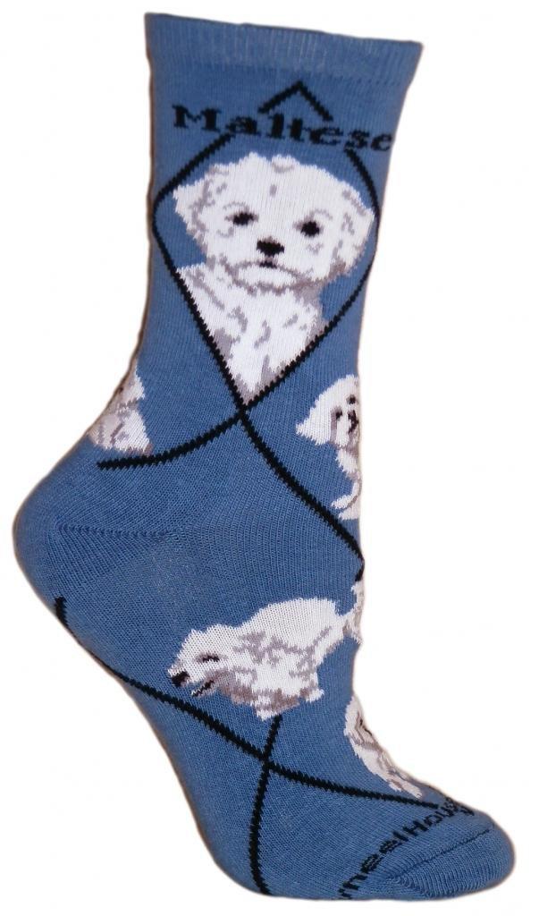 Maltese Puppy Dog Blue Cotton Ladies Socks Wheel House Designs