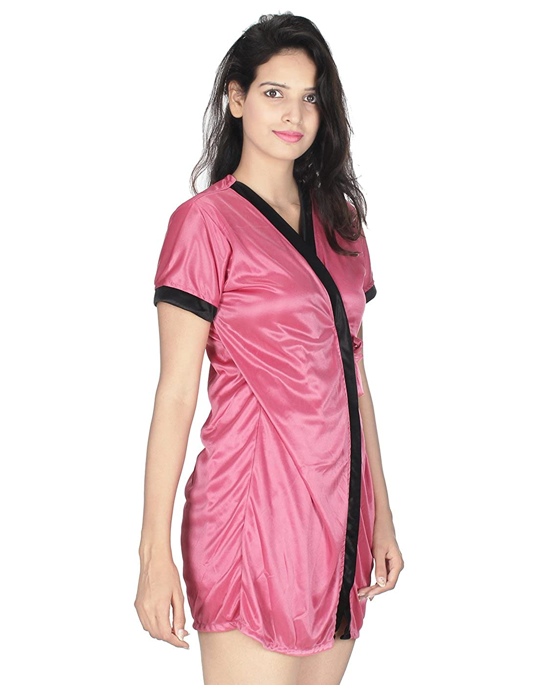 Kanika Women Satin Nighty with Robe-Baby Pink  Amazon.in  Clothing    Accessories ab3499ea8