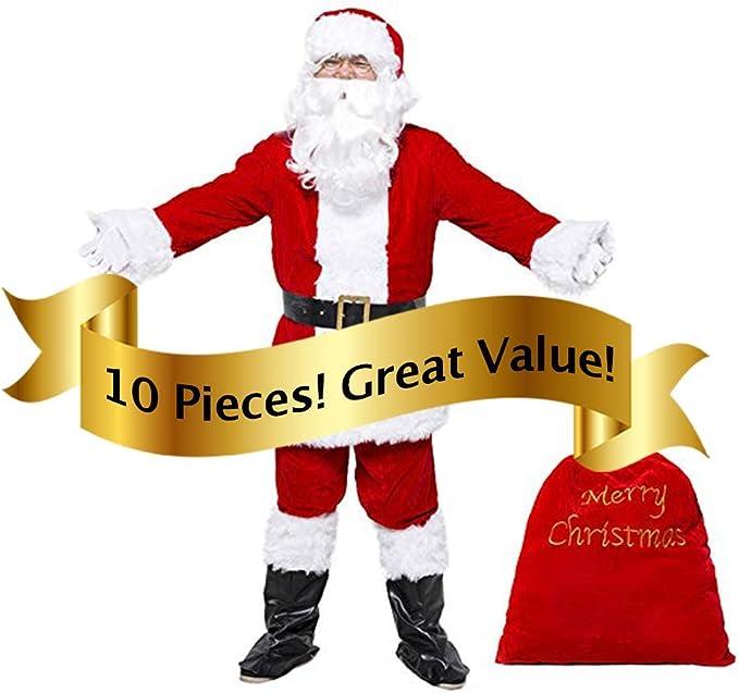 Amazon.com: Traje de Papá Noel de terciopelo de lujo para ...