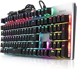 Philips Wired Mechanical RGB Gaming Keyboard   16 Ambiglow Chroma FX & Customizable Key Light Maps   Anti-Ghosting, N-Key Rollover   Quick-Trigger, Soft-Click Philips-Blue Switches (SPK8404)