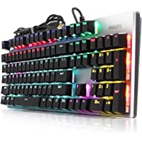 PHILIPS Wired Mechanical RGB Gaming Keyboard | 16 Ambiglow Chroma FX & Customizable Key Light Maps | Anti-Ghosting, N-Key Rollover | Quick-Trigger, Soft-Click Brown Switches (SPK8404)