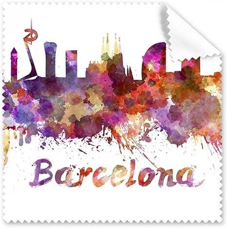 Barcelona España país ciudad acuarela ilustración gafas paño de ...