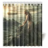 Mermaid Shower Curtain CTIGERS Beautiful Mermaid Art Shower Curtain Abstract Sea and Boat Polyester Fabric Bathroom Decor 66 x 72 Inch
