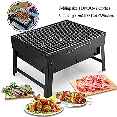 MorisMos Folding BBQ Grill Lightweight Portable Barbecue Charcoal Grill Tools for Outdoor Camping Cooking Picnics Hiking