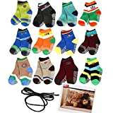 Yaobaby 6 Pairs 1-2 Years Baby Boy's Toddler Anti Skid Slip Slipper Stretch Knit Socks and Gift, Footsocks Sneakers Socks,Length 10-12cm