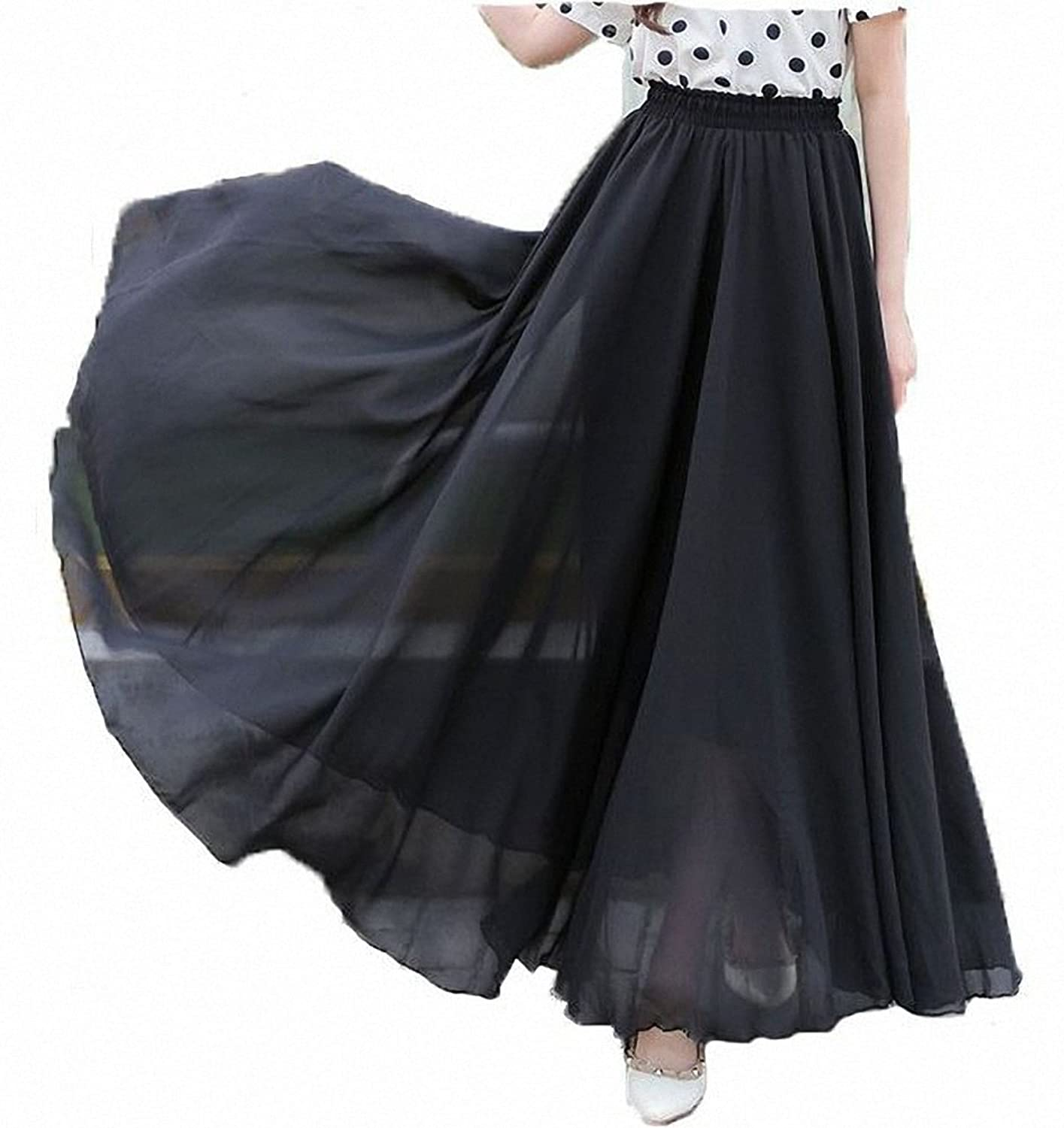Victorian Clothing, Costumes & 1800s Fashion Afibi Womens Chiffon Retro Long Maxi Skirt Vintage Dress $15.69 AT vintagedancer.com