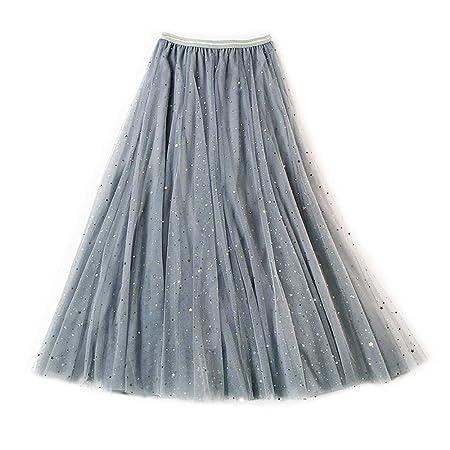 Falda Casual para Mujer Falda de malla con capas en capas de las ...