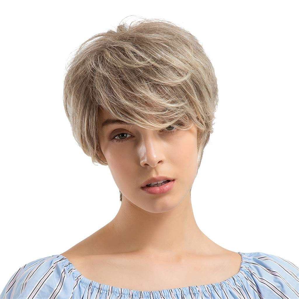 Wig,SUPPION Women 24cm Gray Short Curly Hair Hairstyle Human Hair Wigs Beautiful and Natural - Casual/Cosplay/Party Wig (A)