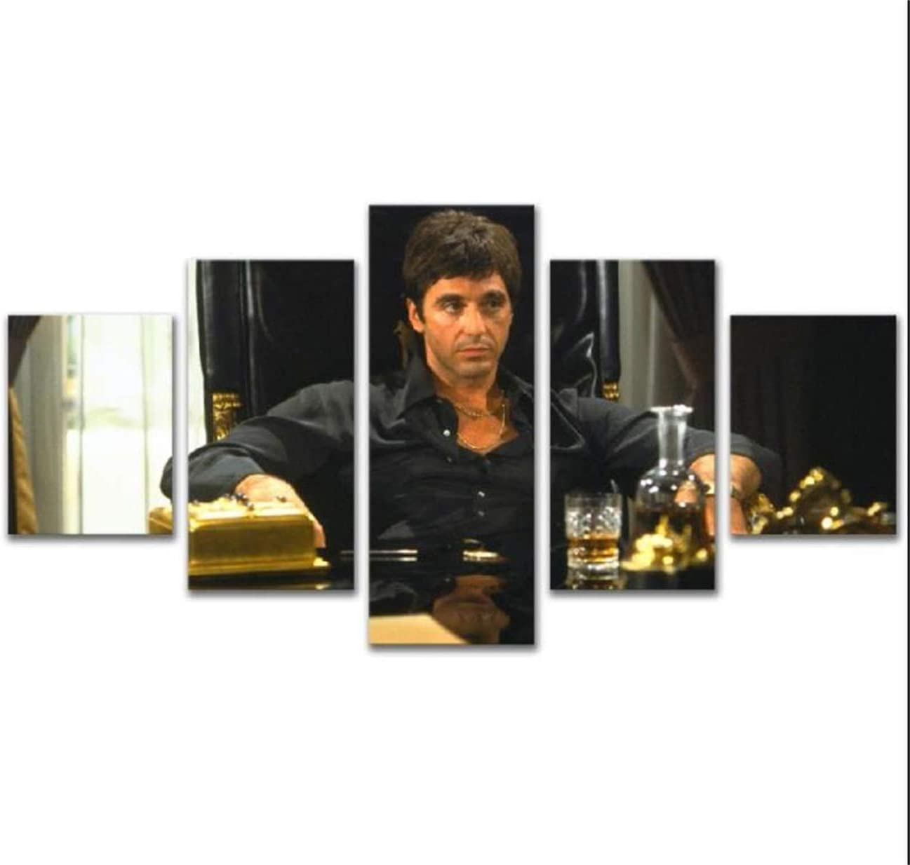 5 Panels Star Al Pacino In Tony Montana Movie Canvas Wall Art Prints Home Decor Painting for Bedroom Living Room (Framed,10x16x2 10x24x2 10x28inch)