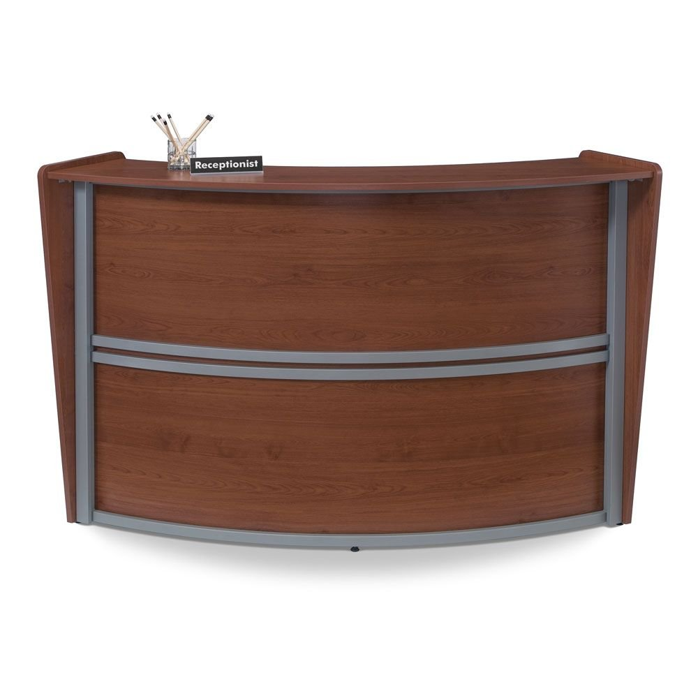Marque Curved Reception Station - 69.5''W x 33.5''D Cherry/Silver Accents Dimensions: 69.5''W x 33.5''D x 45.5''H Weight: 120 lbs.