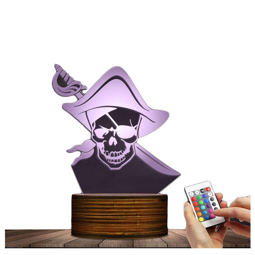 Novelty Lamp, Night Light Optical Illusion 3D LED Lamp 15 Kinds of Discoloration Pirates, USB Powered Remote Control Changes the Color of the Light, an Ideal Gift for Children's Friends and Family ,Am