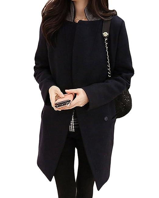 Minetom Mujer Invierno Cálido Lana Abrigos Traje Collar Overcoat Moda Largo Blázer Lana Chaquetas: Amazon.es: Ropa y accesorios