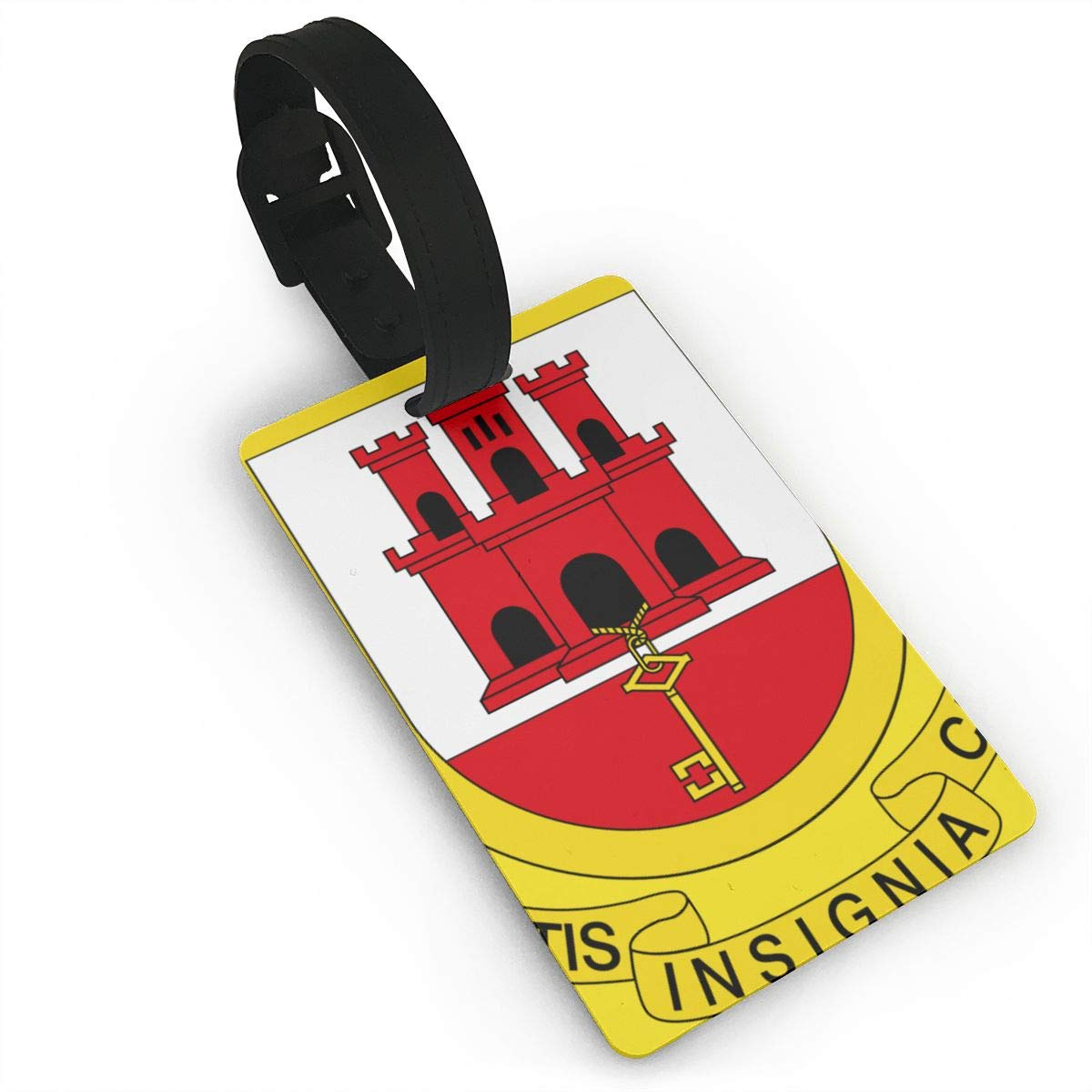 KODW12 Coat of Arms of Gibraltar1 Luggage Tag Travel Bag Labels Suitcase Bag Tag Name Address Cards