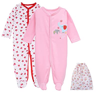 491e432f304a Baby Sleepwear for Girls-2 Packs Cotton Infant Footed Sleeper ...