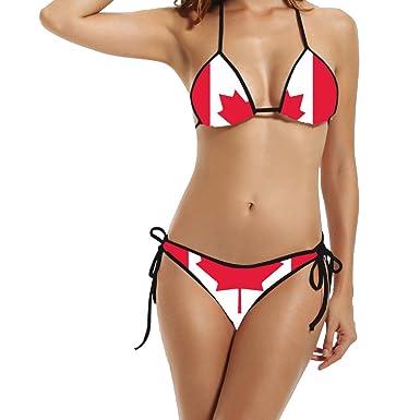 a65f432bc3 Kim Lennon Country Series Canada Flag Women s Sexy Hot Padded Bikini Set  Size One Size Black