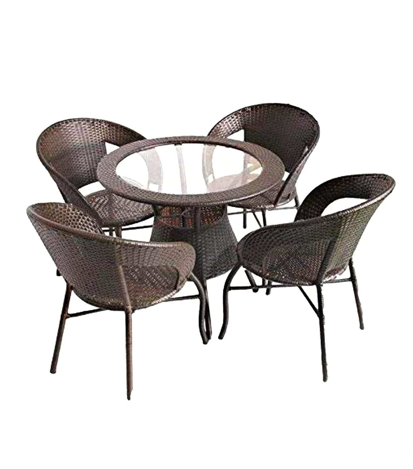 Wicker hub gc04 outdoor chair table two tone set of 4 amazon in home kitchen