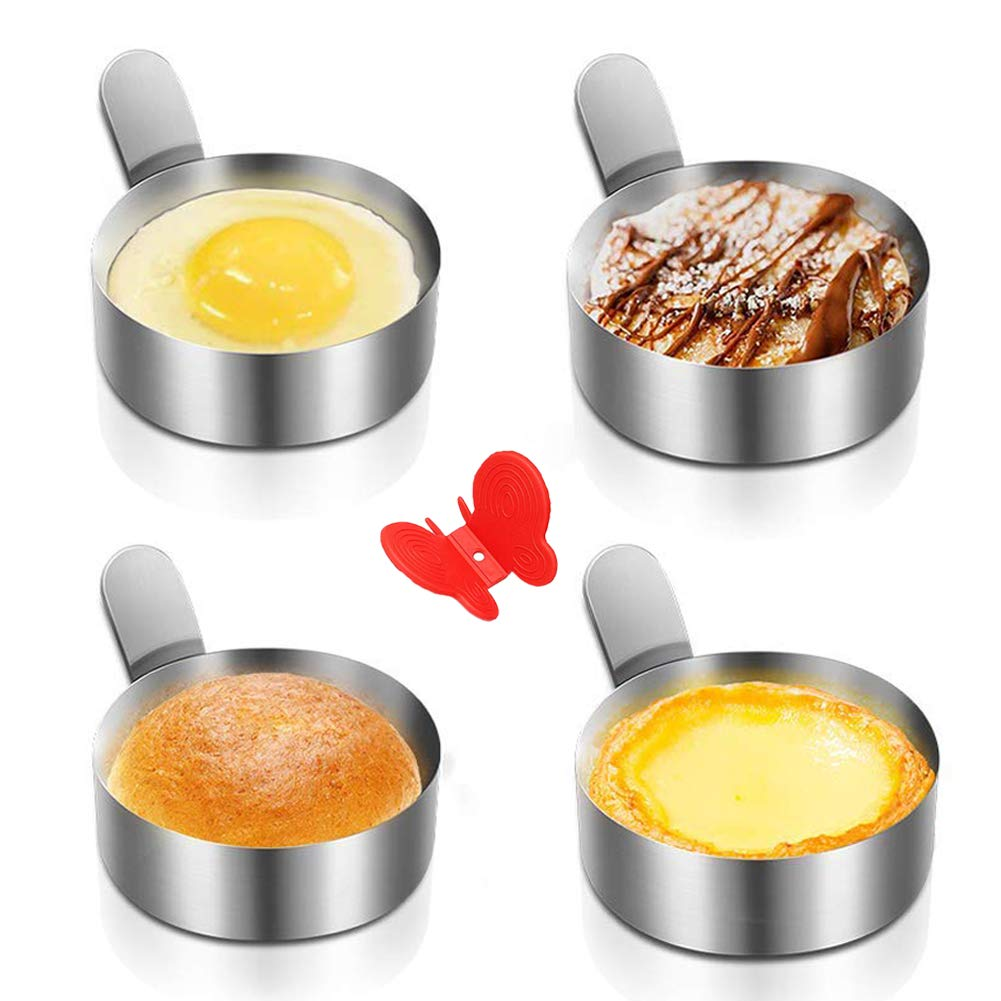 Egg Ring Yubng Stainless Steel Metal Egg Rings 4 Pack 3 Inch Omelet Mold Cooking Non Stick Pancake Ring Metal Kitchen Cooking Tool Egg Ring with Free Butterfly Anti-Scalding Silicone by Yubng