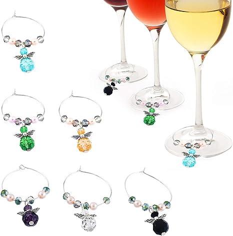 Gresunny 6pcs marcador de copas de vino encantos de copa de vino marcadores de vidrio de fiesta abalorios para copas de vino con caja de regalo ...