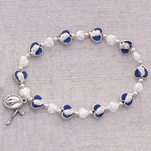 (BR331C MIRACULOUS STRETCH BRACELET BLUE ENAMEL HEART BEADS WHITE HEART PEARL GLASS BEADS SILVER OX MIRACULOUS MEDAL AND CRUCIFIX - CARDED)